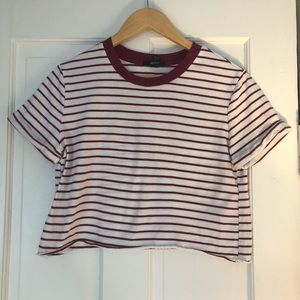Forever 21 Maroon and White Striped Crop Top